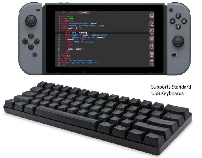 用戶可以用手掣或屏幕鍵盤來編寫程式,更支援 USB 鍵盤。