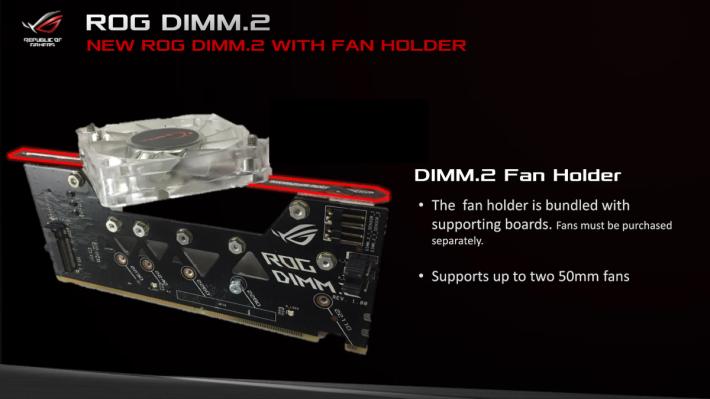 ROG DIMM.2 子卡可額外加裝 50mm 風扇,為 SSD 加強 散熱。