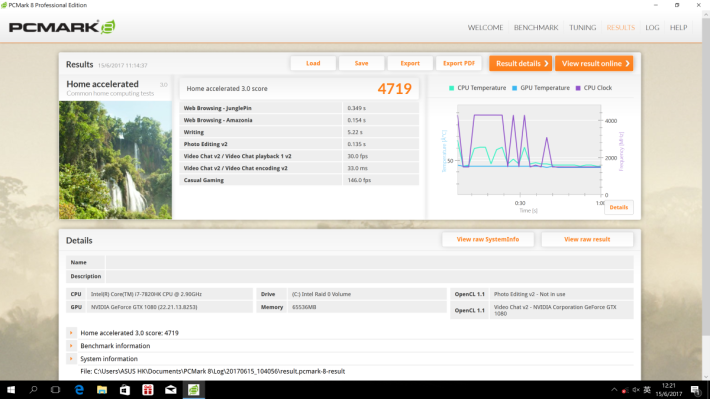 PCMark 8 的效能評測取得 4,719 分。