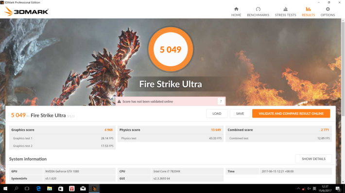 3DMark Fire Strike Ultra取得 5,049 分。