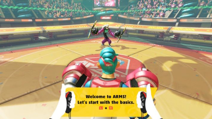 遊戲開始前會有一個教學模式,各位可以學習《ARMS》的基本操作。