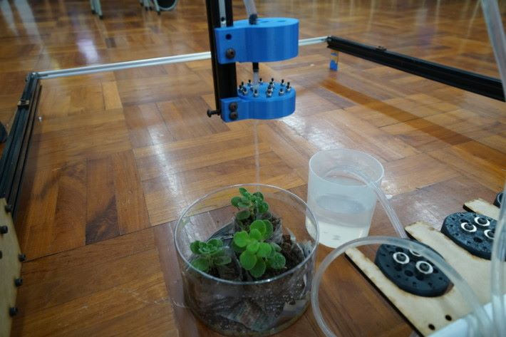 它會隨著預先設定的位置移動到指定的植物上澆水。