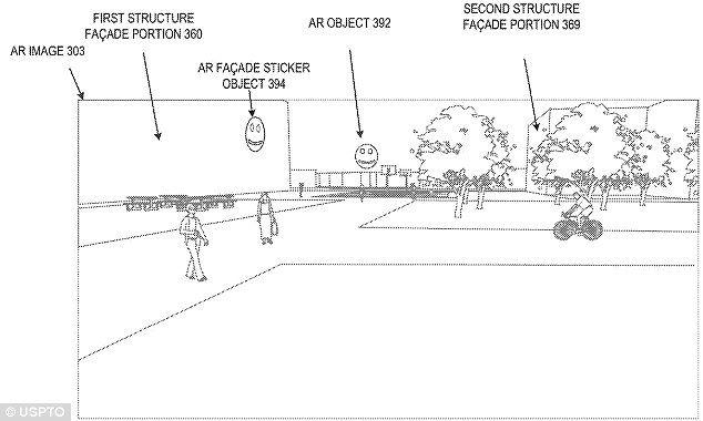 街道旁邊的大廈可用 AR 影像取代,也可以加入虛擬景物。