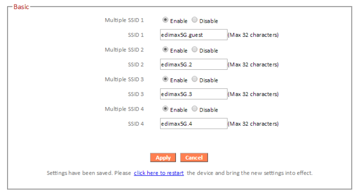 共可設定 4 個 2.4 GHz Guest Network SSID 及 4 個 5 GHz Guest Network SSID。