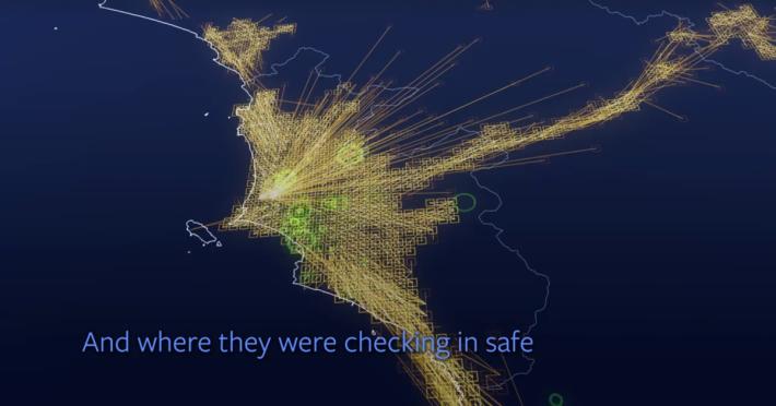 隨著 Facebook 接收到用戶的 GPS 訊號,就能得知人們往哪裡逃離了。