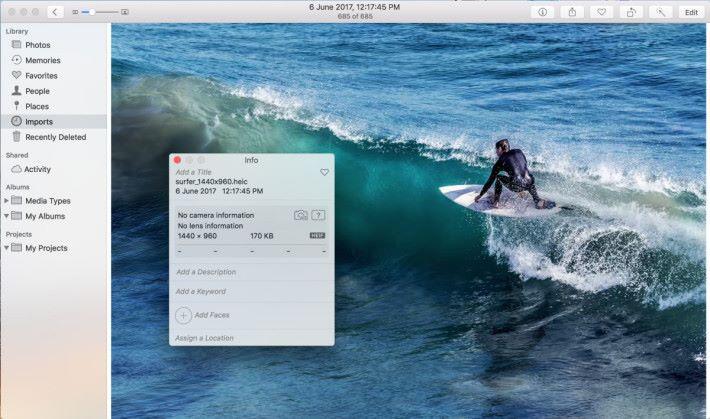 更新到 High Sierra 後,可以在 Photo App 看到圖片的資料。