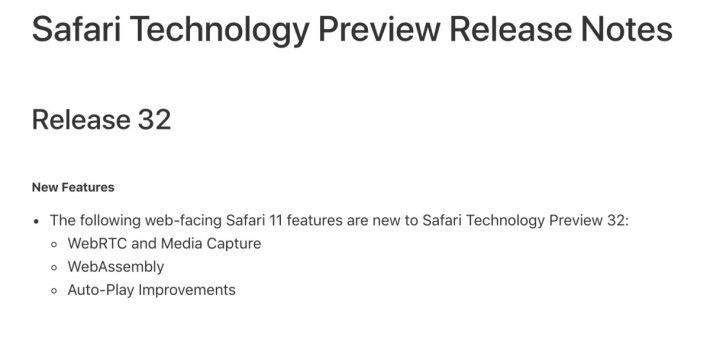 Apple 終於都宣布 Safari 支援 WebRTC 和媒體擷取。