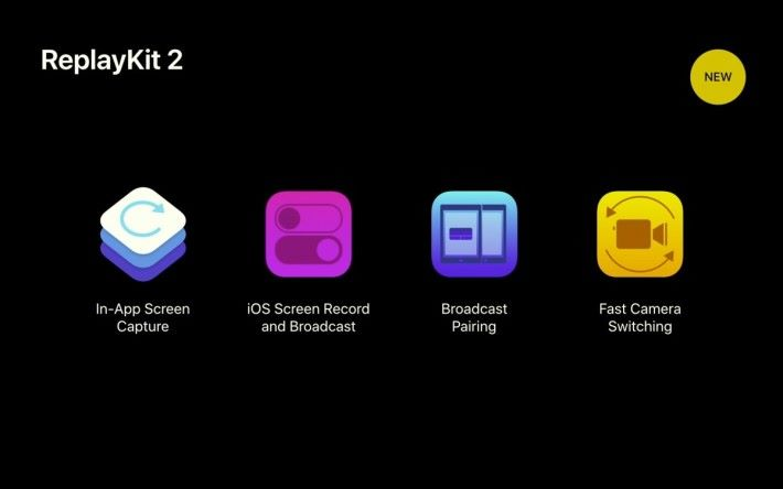 ReplayKits 2 包含四大範疇,包括「 In-App Screen Capture 」、「 iOS Screen Record & Broadcast 」、「 Broadcast Pairing 」和「 Fast Camera Switching 」。