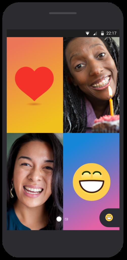 與朋友同時進行視訊對話時,可即時輸入表情符號作回應。