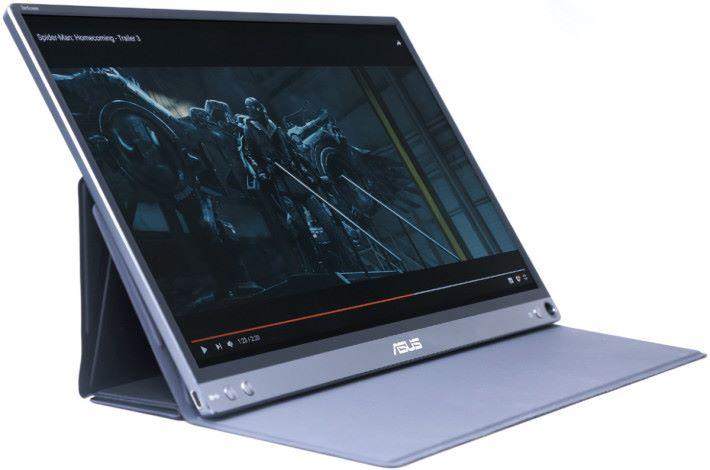 ZenScreen 備有一個磁力的保護套,可以透過摺疊作不同角度擺放,甚至可作垂直展示。
