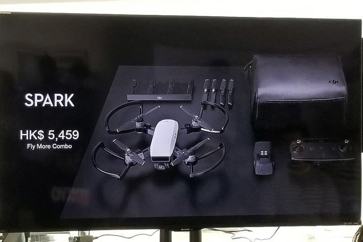 Spark 淨機售價 $3,899,連多兩枚備用電池、充電器、備用旋槳及遙控器等的「 Fly more combo 」則售 $5,459。