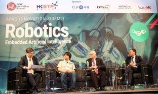 左起:田之楠教授、佐藤一憲、Robert Morris 和許遵發為與會者分析人工智能的前景。