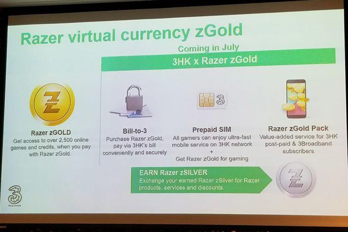 與 Razer 合作推廣專用虛擬貨幣 Razer zGold,玩家可利用「Bill-to-3」形式購買 Razer zGold,亦有專為玩家而設的 Pre-paid SIM 及增值服務可選擇。