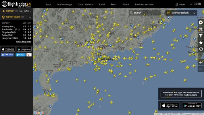 香港的上空,很繁忙啊。