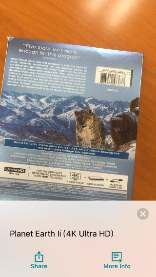 能從條碼中辨認出《 Planet Earth II 》4K 影碟