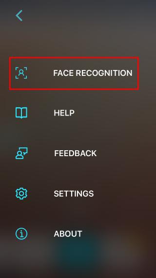 從菜單選擇「 Face Recognition 」來註冊親友面容
