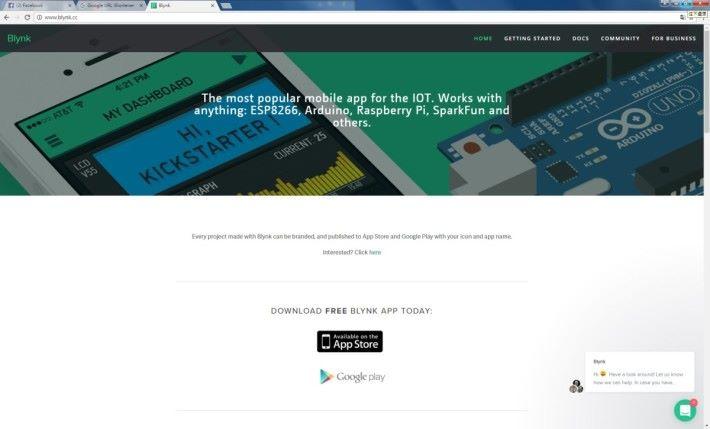 Blynk 智能手機應用程式,官方網站可下載 Android 及 iOS Apps。