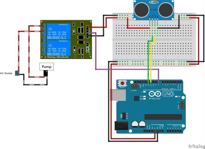 智能自動換水水族箱與各組件接線關連圖。