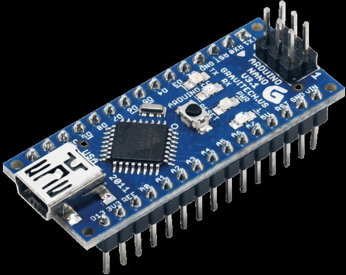 除了 Arduino UNO,Arduino 也有推出其他類型的電子版。同學們表示手語翻譯手套需要將電子硬件,直接依附在手套的手背上,因此電子板必然是輕巧為佳,再三比較下,選擇體積和連接介面較少的 Arduino Nano。