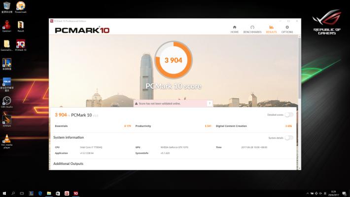 PCMark 10 效能評測取得 3,904 分。