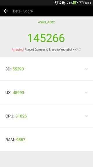 使用 AnTuTu 6 進行測試,得分為 145,266 分,雖然不及 S835 處理器的手機,但已是十分不錯。