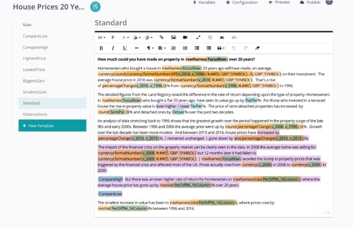 記者先寫好文章的樣板,然後人工智能會在空格填寫資料。
