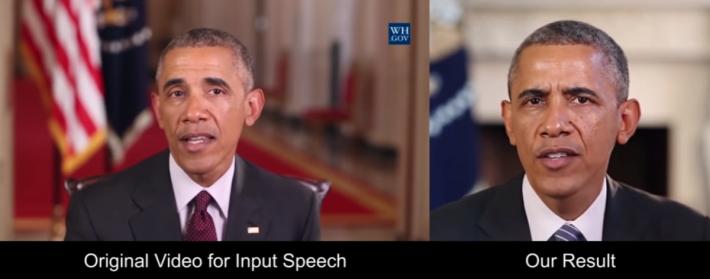 這個 AI 製造出的假演說影片,嘴型與真實影片無異。