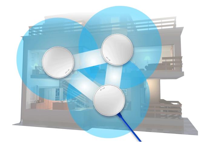 在 Mesh Network,每個 Node 會以無線網絡連接最接近的 Node。