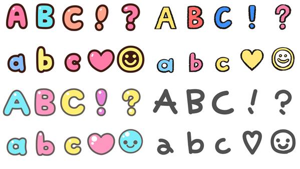 共有四個七彩字體系列,每個系列都有大細階英文字母和特殊符號。