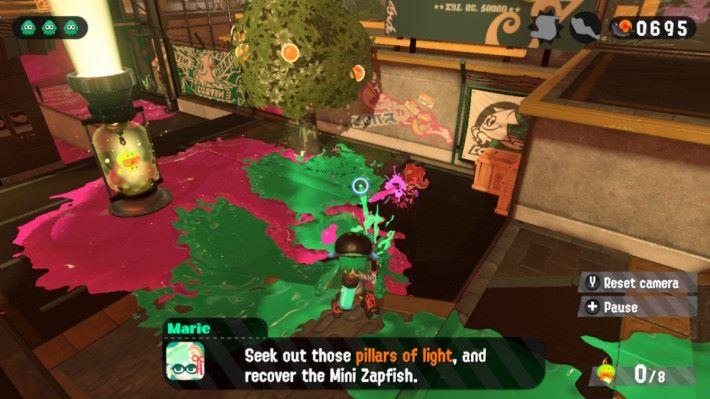 故事模式也有「模擬對戰」關卡,各位要解救 Mini Zapfish 之餘,擊倒各種會使用武器的敵人。