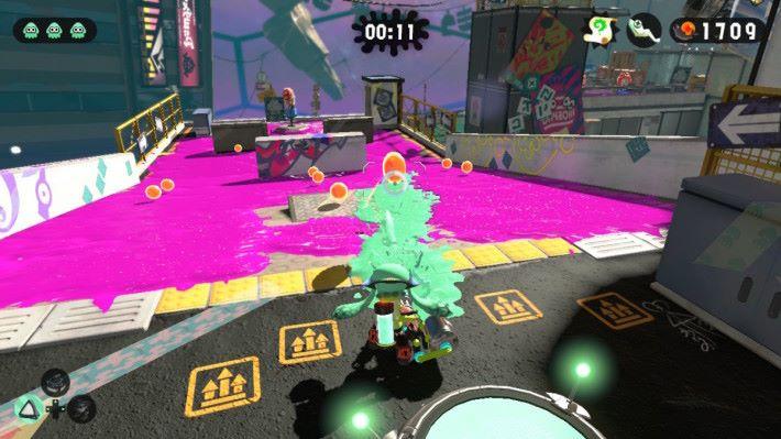 玩家只要放開「ZR」鍵就能發射,大量的彈幕可以快速刷地板。