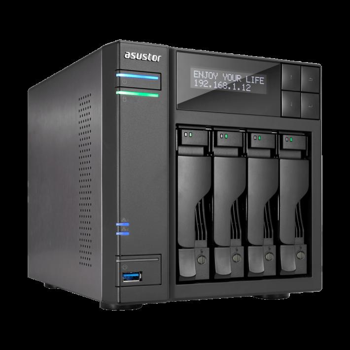 據知即將推出的 Asustor AS6404T 記憶體增至 8GB,升級 Intel HD 繪圖引擎,可以支援 HEVC 和 VP9 的硬體解碼,大幅提升多媒體及圖檔處理效能 30%。另外全面採用 USB 3.0 介面,亦有 USB Type-C連接,HDMI 部分更升至 2.0 規格, 最高支援 60/50P 4K 解像度。