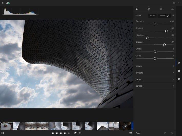 適合 iPad 使用的介面,正切合攝影師在戶外拍攝後即時用 iPad Pro 處理相片。