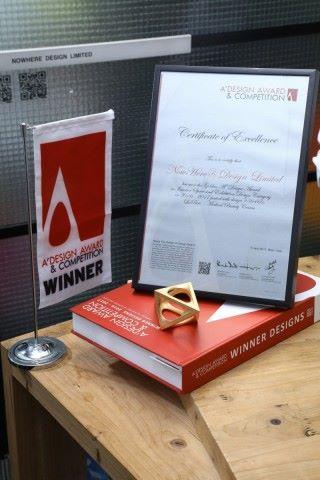 A' Design Award 2017 金獎(室內設計及展覽設計)亦是業界公認門檻高的獎項。
