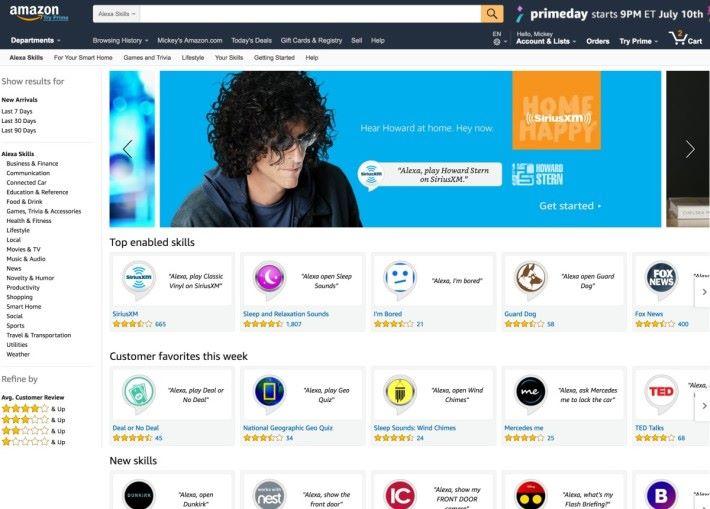 在 Amazon 的網上商店,可以選擇的語音指令相當多。