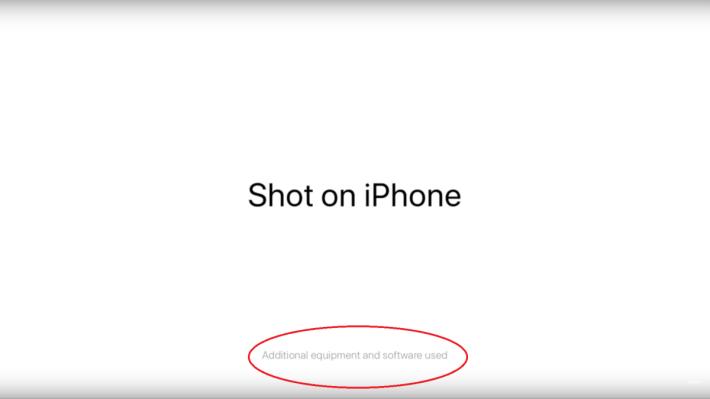 從廣告中看到「以 iPhone 拍攝」的字句下,有一行細字指它還用了其他配件及軟件來拍攝的。