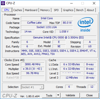 CPU-Z 上出現疑似 Coffee Lake CPU 的資料。
