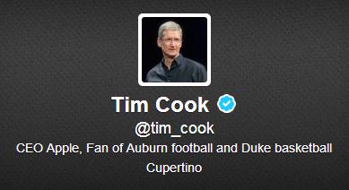 Tim Cook 是其中一位 Twitter 藍剔名人。