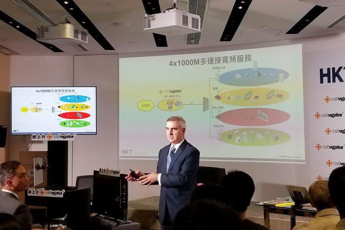 香港電訊集團董事總經理艾維朗指,新服務多用途建構容許分隔使用線路,確保達致穩定性及保證速度。