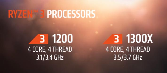 Ryzen 3 將有 1200 及 1300X 兩個型號。