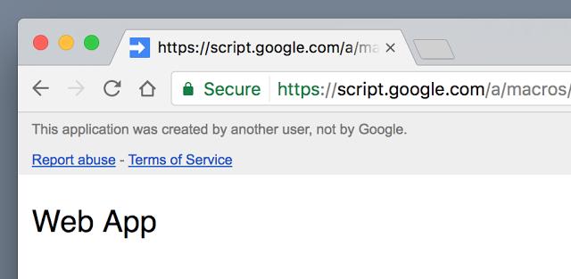 不是由 Google 開發的 Apps script 內容會有橫幅提示。