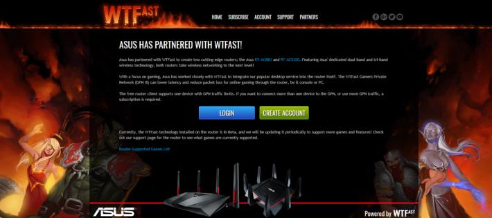 在 Router 界面按建立帳戶,便可以在 WTFast 網站建立一個終身免費帳戶。