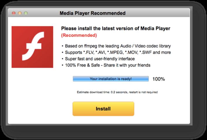 即使是 macOS ,一樣會下載一個假的 Flash Player .dmg 安裝檔,裡面同樣是惡意廣告程式。