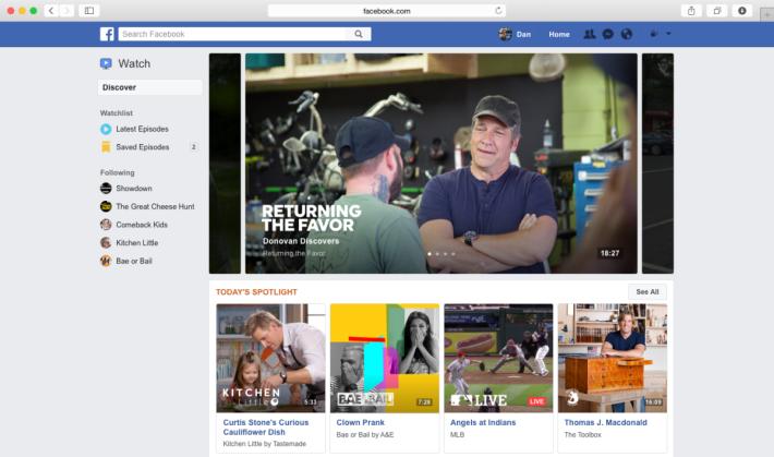 電腦網頁版 Facebook Watch