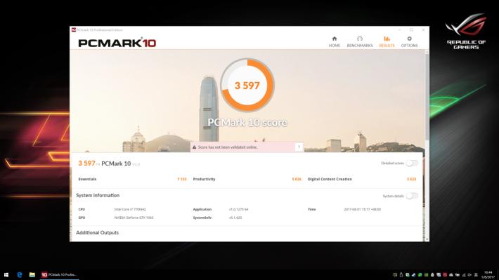 PCMark 10 效能評測取得 3,597 分。