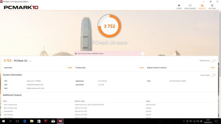 PCMark 10 的效能評測取得 3,752 分。
