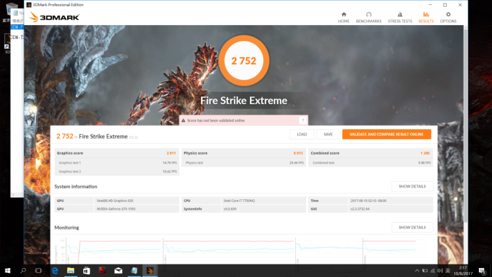 3DMark Fire Strike Extreme取得 2,752 分。