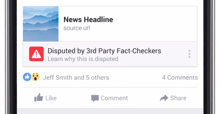 Facebook 與第三方調查機構合作,檢舉假新聞連結。