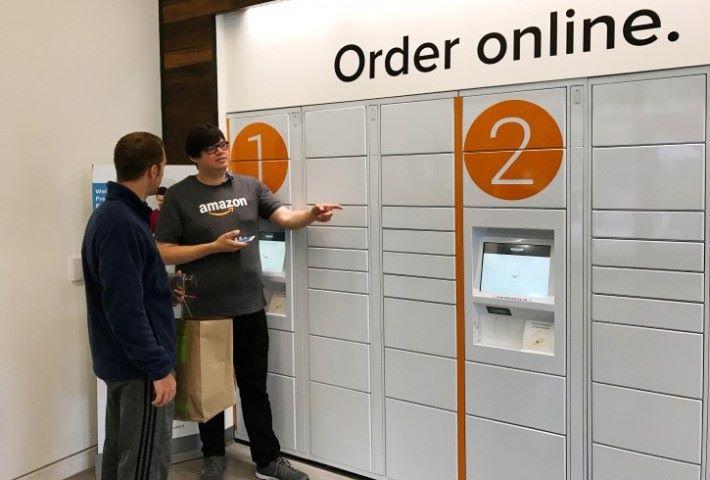 落單後兩分鐘就可以在指定地點的自助式取貨櫃內取貨。
