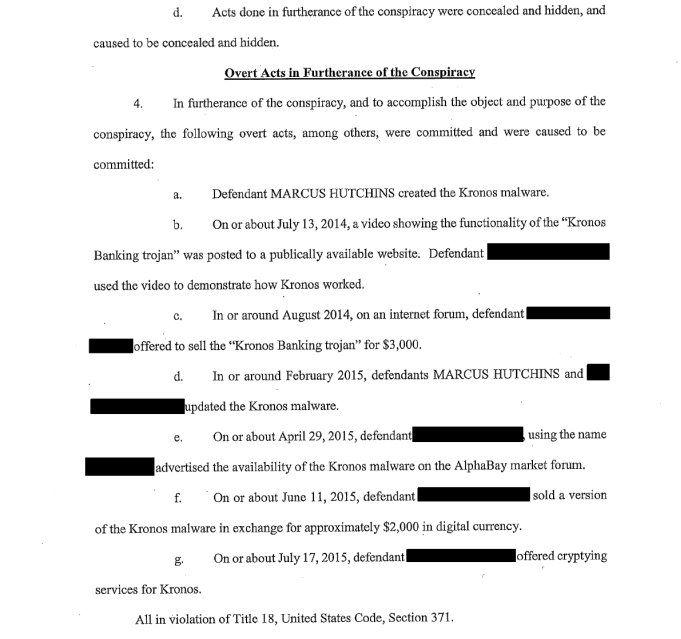 司法部起訴文件指控 Marcus Hutchins 涉嫌製造 Kronos 惡意程式。